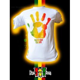 """Tee shirt Rasta vibration """"Hand"""" Blanc"""