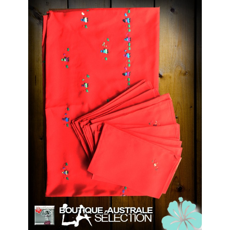 Nappes couleurs brodées de Madagacar. Broderies de Mada rouge ...