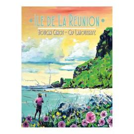Affiche Ile de La Réunion: Boucan canot Cap Lahoussaye. Peinture