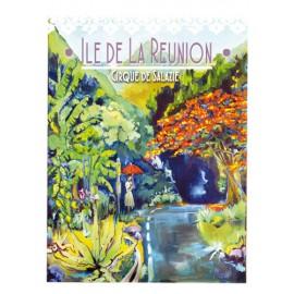 Affiche Ile de La Réunion: Cirque de Salazie. Peinture Miguel par Art Austral