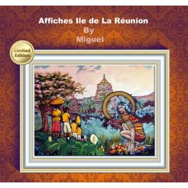 Affiche Ile de La Réunion: Ravine Blanche. Peinture