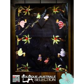 Les nappes rectangulaires 2.50 m 1er choix Madagascar dodos sur coton bleu nuit