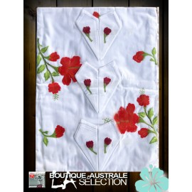 Broderies Madagascar Hibiscus rouges: 1er choix.