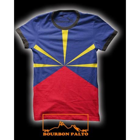 Tee-shirt Bourbon Palto Réunion flag Mavéli. Ile de La Réunion