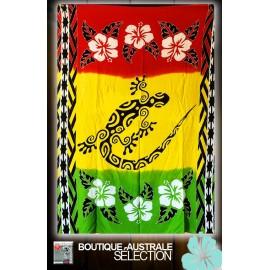 Paréo Kari La Réunion: Rouge jaune et vert, margouillat batik.