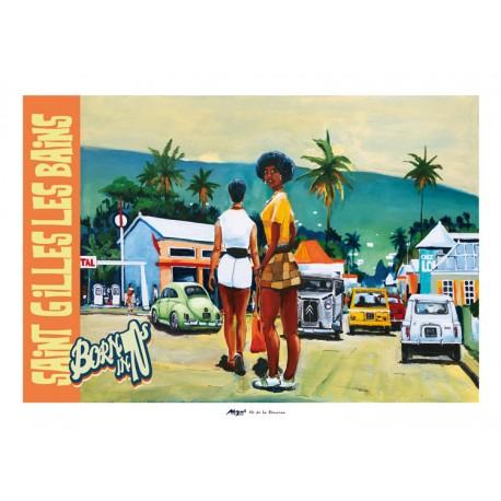 Poster Ile de La Réunion 50x70 Saint Gilles les Bains: Born in 70sBorn in