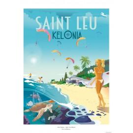 Affiche Ile de La Réunion 50x70  Saint Leu Kélonia