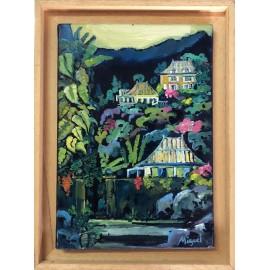 Huile sur toile. Creole house. Par Miguel. La Réunion.