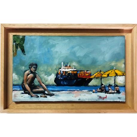 Huile sur toile. Cargo. Par Miguel. La Réunion.