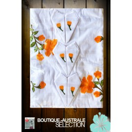 Broderies Madagascar Hibiscus orange: 1er choix.