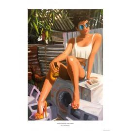 Affiche Ile de La Réunion: Chaleur Tropicale. Peinture Aurélie Quentin