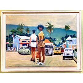Acrylique sur toile. Saint Gilles. Par Miguel. La Réunion.