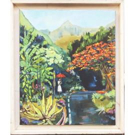 Huile sur toile. Salazie. Par Miguel. La Réunion.