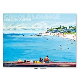 Affiche Ile de La Réunion: Saint Pierre Plage du lagon. peinture Miguel
