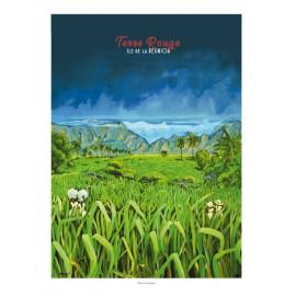 Poster Ile de La Réunion 50x70 Terre Rouge par Miguel