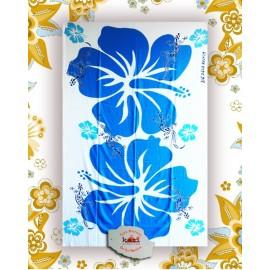 """Paréo Kari  île de La Réunion: motif """"margouillats et hibiscus bleu"""""""