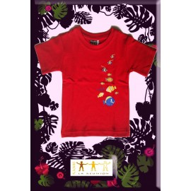 "Tee shirt Kaniki Rouge ""poissons du lagon"""