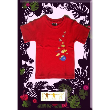 "Tee shirt Kaniki Rouge ""poisson du lagon"""