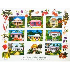 Les posters des cases et jardins créoles de La Réunion de Jade Editions.