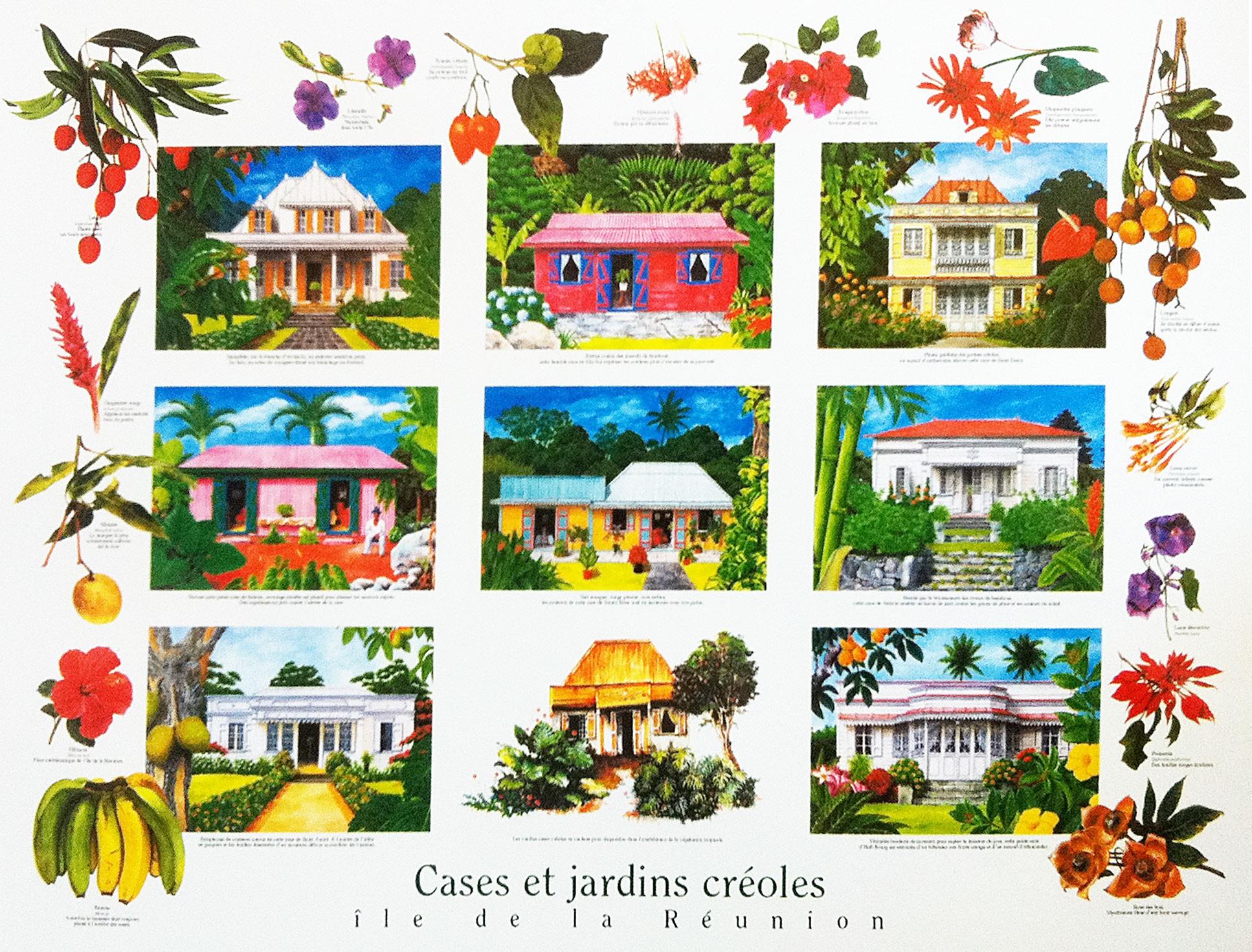 Poster Les Cases Et Jardins Creoles De Jade Editions Affiche La