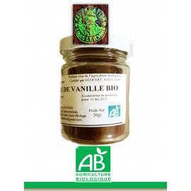 Poudre de vanille Bourbon de la Réunion de qualité gastronomie label AB