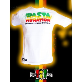 Tee shirt Rasta vibration Roots since 1998 Blanc