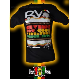 "Tee shirt Rasta vibration ""RV giving you good vibration"" Noir"