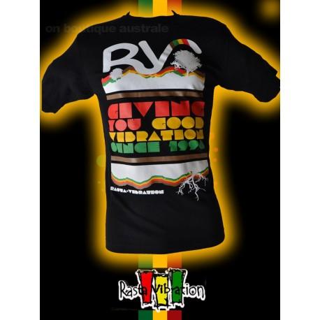 "Tee shirt Rasta vibration ""RV"" Noir"