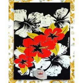 """Paréo île de La Réunion: motif """" hibiscus rouge"""""""