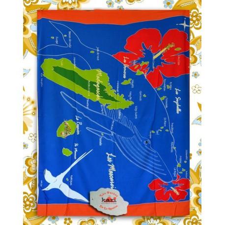 Paréo île de La Réunion: motif baleine et carte des mascareignes et  mayotte