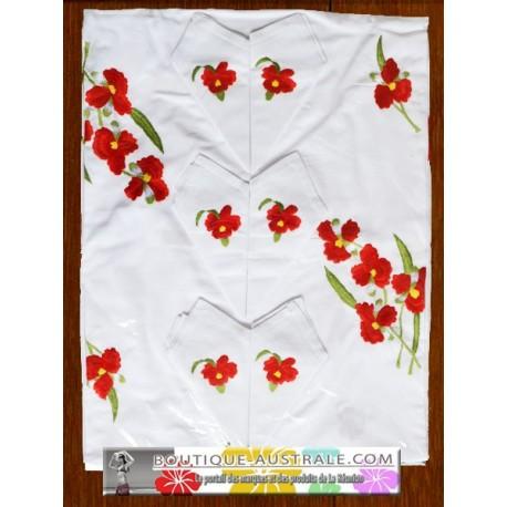 Les broderies 1er choix -Petites fleurs rouges-: broderies recto et verso
