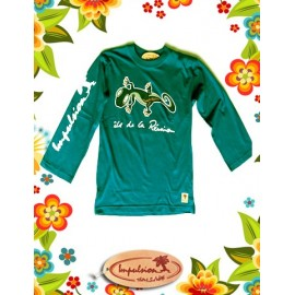 "Tee shirt manches longues turquoise ""margouillat"""