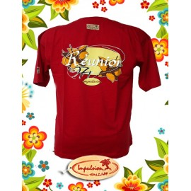 """Tee-shirt Impulsion """"La réunion 974"""" Rouge reste 1L"""