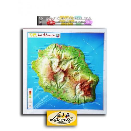 Carte en relief de La Réunion