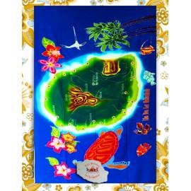 Paréo Ile de La Réunion: motif  carte de La Réunion fond bleu