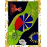 Paréo Ile de La Réunion: motif carte et drapeau de La Réunion. Modèle 2015