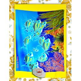 Paréo Kari, Ile de La Réunion: motif poissons du lagon.