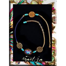 Headband Gri-gri création Maëtja. Blue Wall. Bijoux Réunion