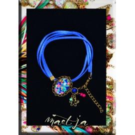 Bracelets Gris-gris artistiques Maëtja. Blue Flowers.