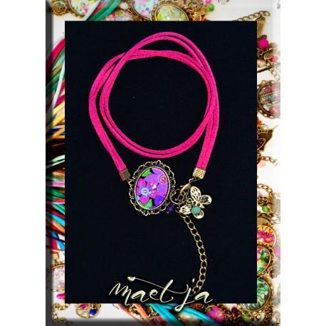 Bracelets Gri-gri artistiques Maëtja. Fushia big flowers.