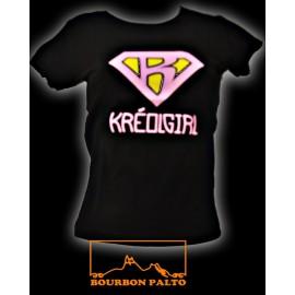 """Tee-shirt pour Madam Bourbon Palto """"KréolGirl"""". Reste un M"""