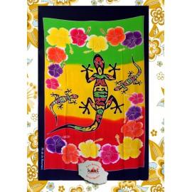 """Paréo île de La Réunion: motif  gecko""""rouge jaune et vert batik"""""""